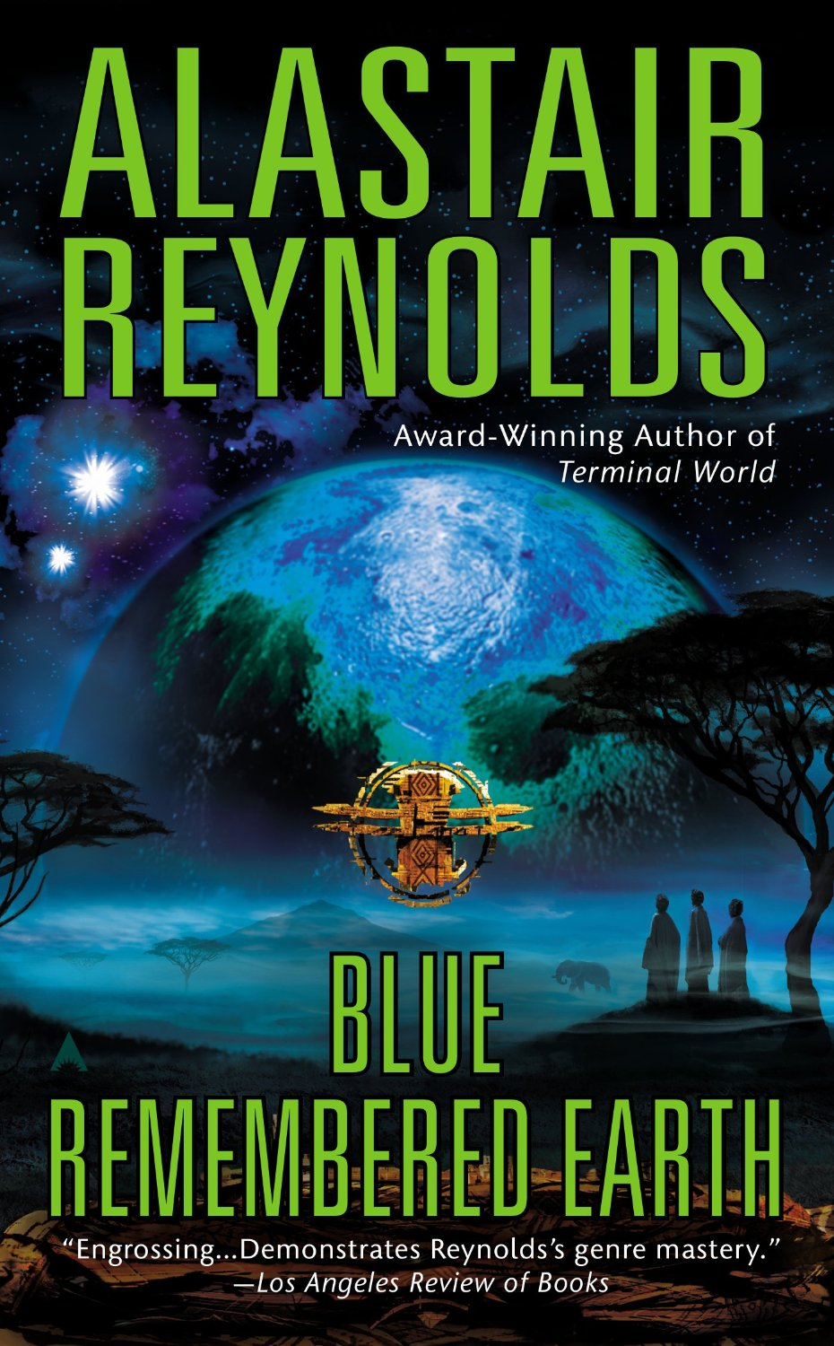 cover of Blue Remembered Earth, with a blue earth in the background, trees and people below it in the foreground