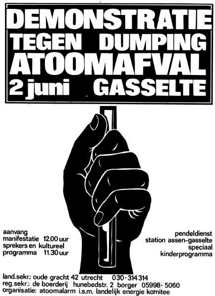 Poster voor demo tegen opslaf atoomafval in de zoutkoepels