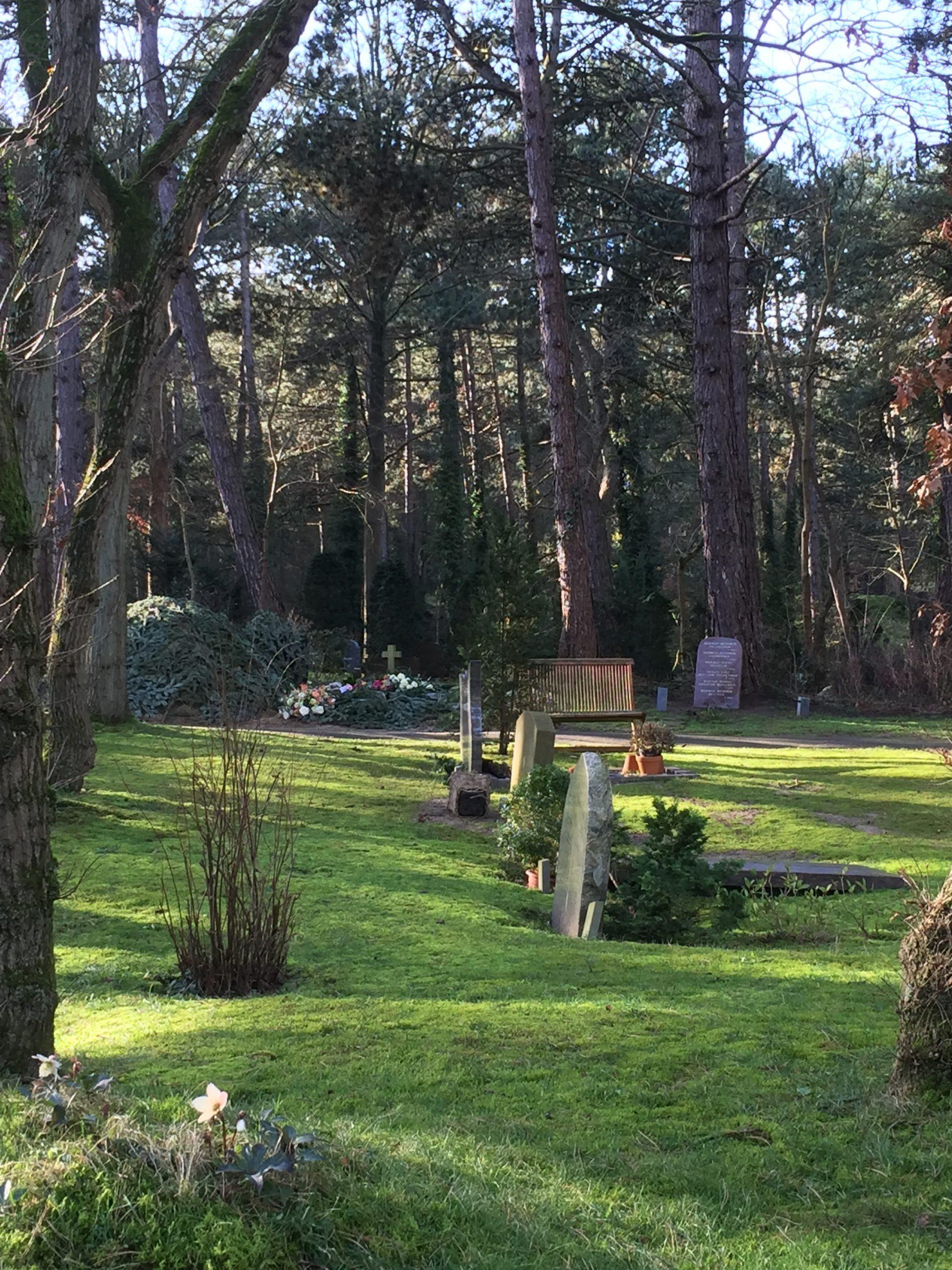 BEgraafplaats met heuvelige, groene grond, bomen en enkele graven