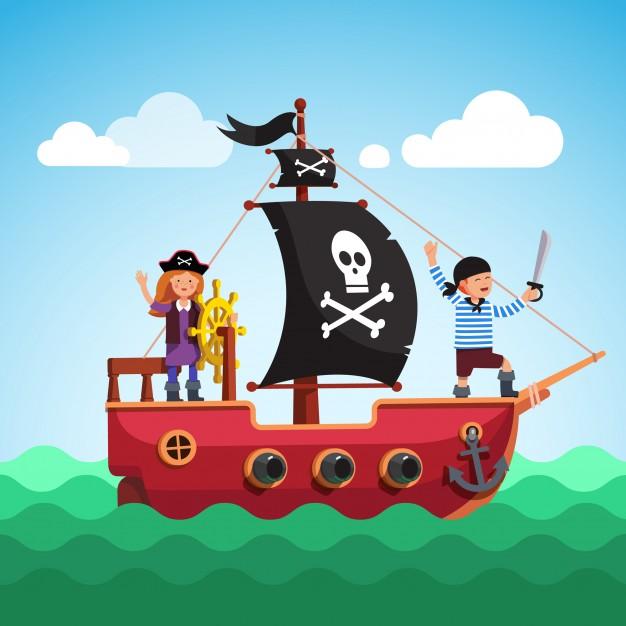 Roerganger Annabel en Piraat Thierry met zn houten zwaardje spelen piratenscheepje